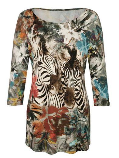 Amy Vermont Longshirt Zebra mit platziertem allover Druck