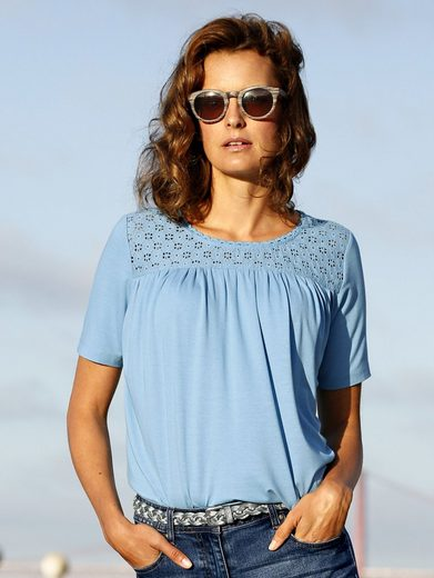 Amy Vermont Shirt mit Spitzeneinsatz im Vorder- und Rückteil