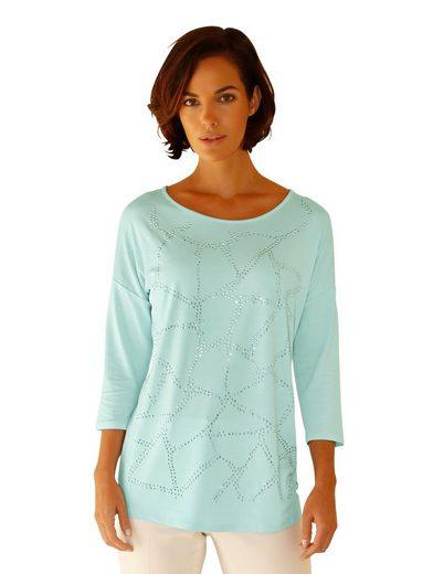 Amy Vermont Shirt mit Ziersteinen im Vorderteil