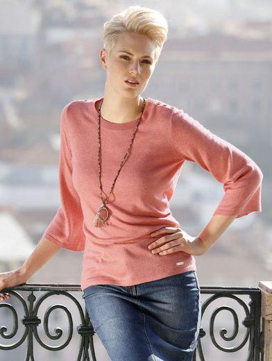 Amy Vermont Pullover mit Knopfdeko auf der Schulter