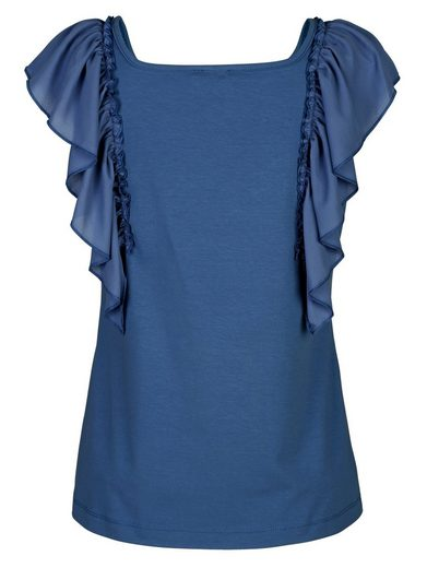 Amy Vermont Shirt mit gerüschtem Webbesatz