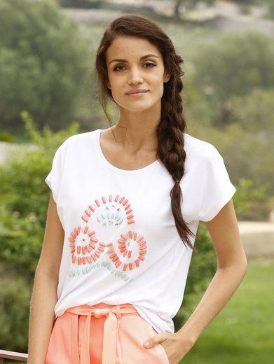 Amy Vermont Shirt mit Steinchen- und Perlenmotiv