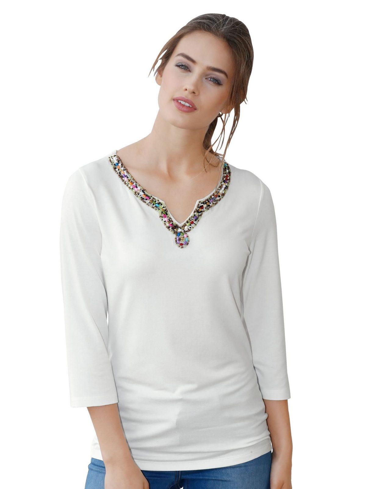 Amy Vermont Shirt mit bunter Perlendekoration