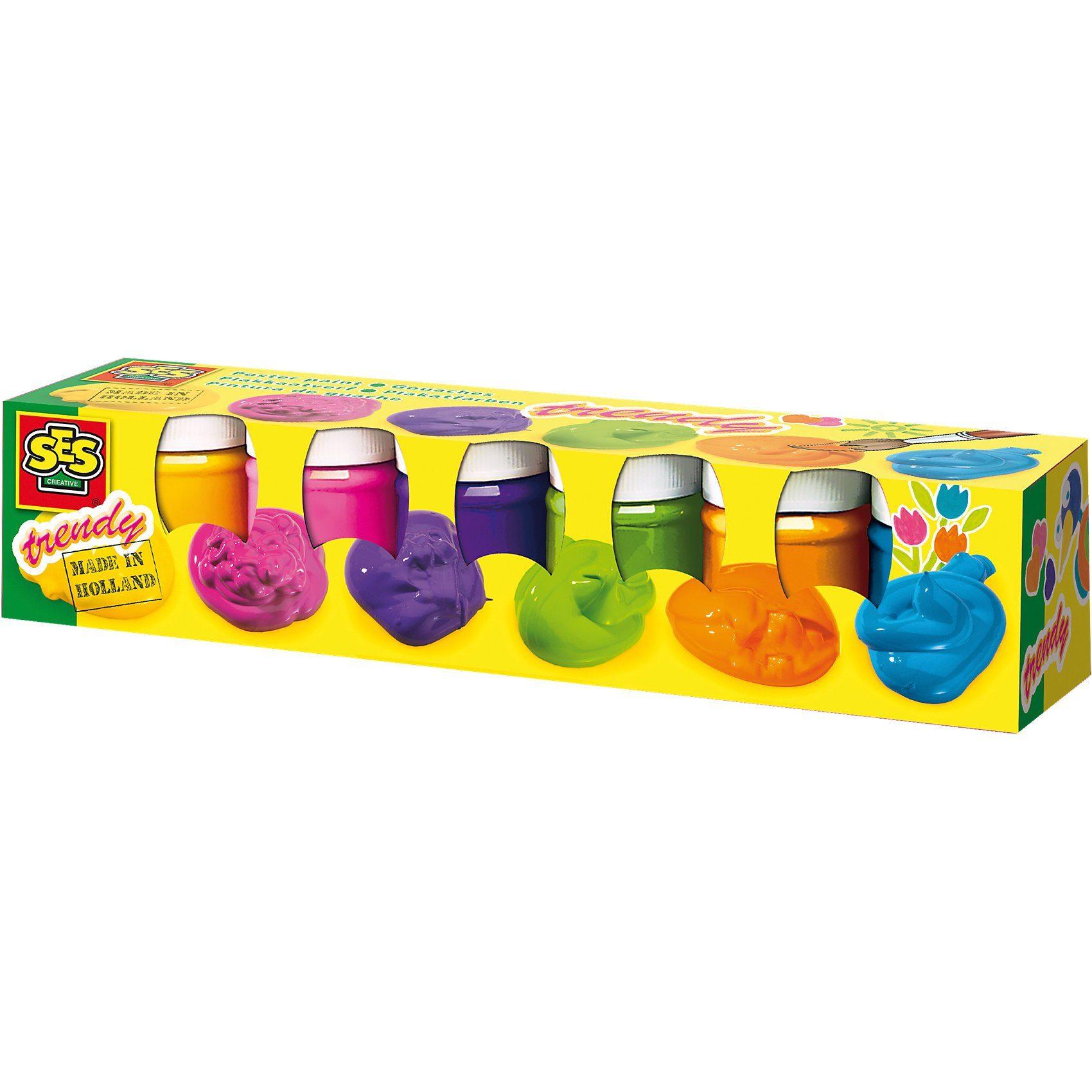 SES Creative Plakatfarben Trendy, 6 x 50 ml