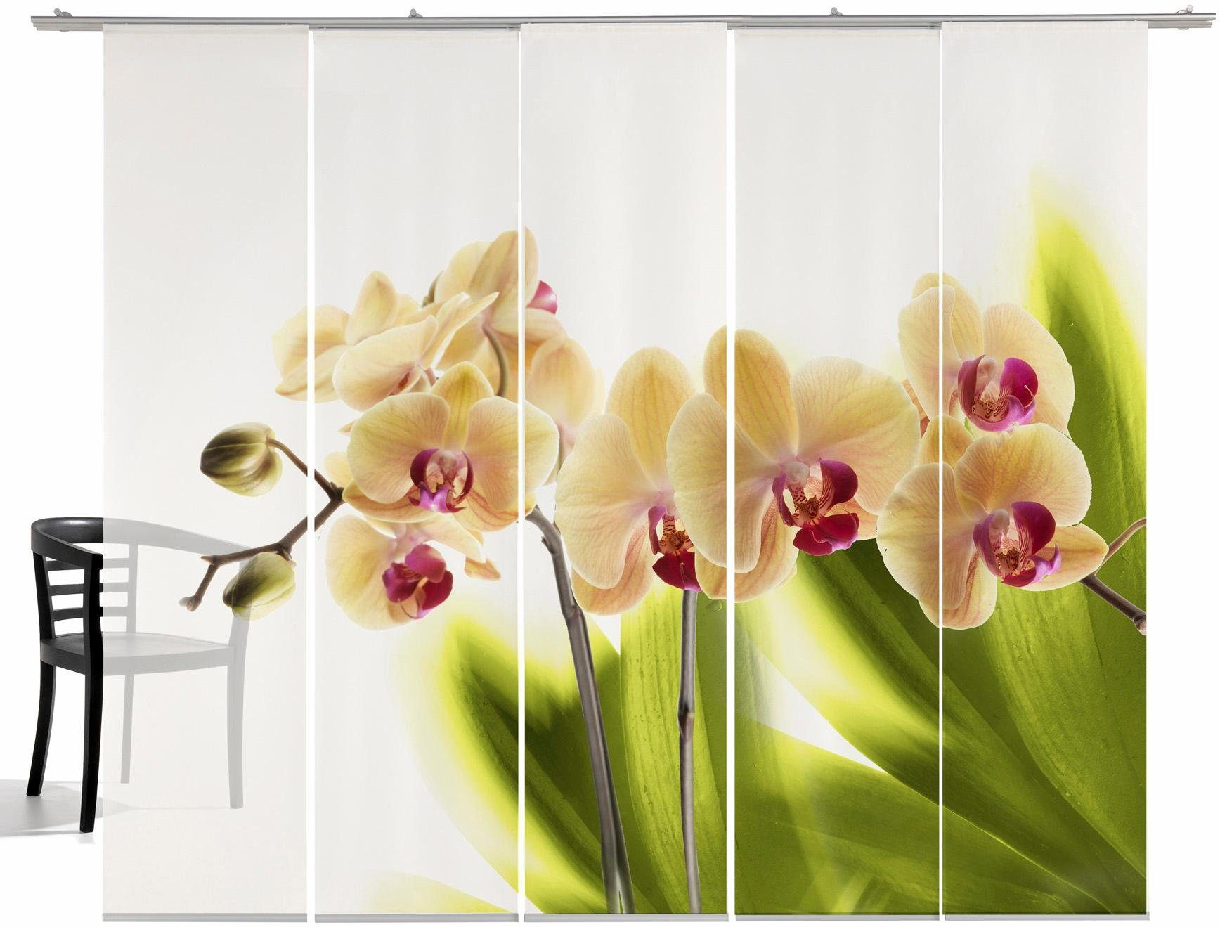 Schiebegardine, Emotiontextiles, »Orchidee«, mit Klettband (5-tlg. incl. Technik)