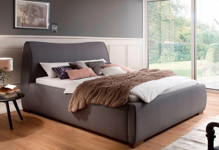 meise m bel polsterbett 180x200 cm stoff grau otto. Black Bedroom Furniture Sets. Home Design Ideas