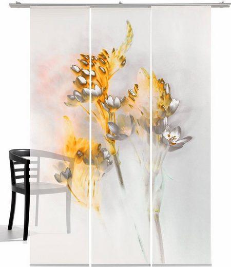 Schiebegardine »Floralzauber«, emotion textiles, Klettband (3 Stück), mit Befestigungszubehör