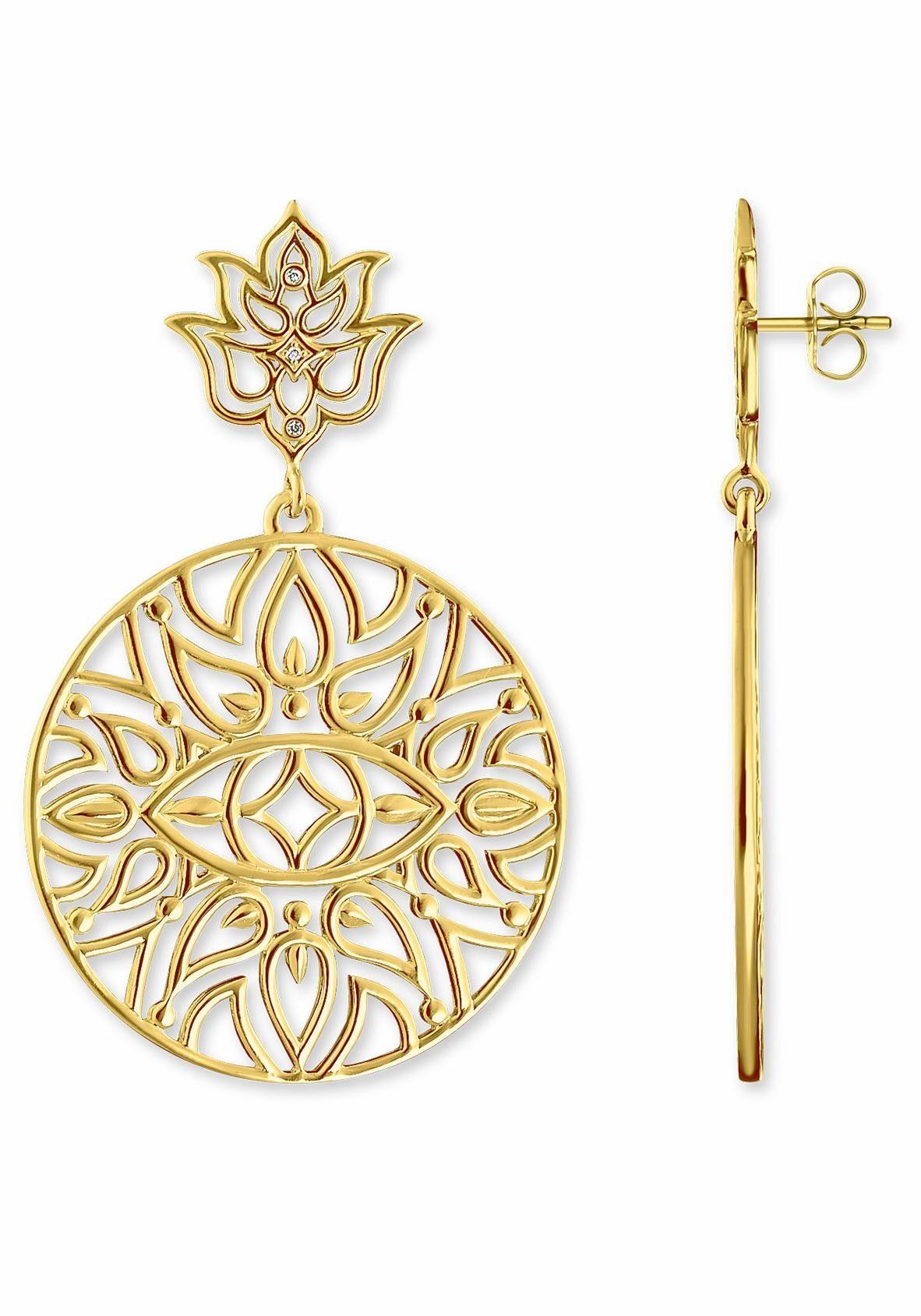 THOMAS SABO Paar Ohrstecker »Lotos Blüte Ornamentik, D_H0008-924-39«, mit Diamanten