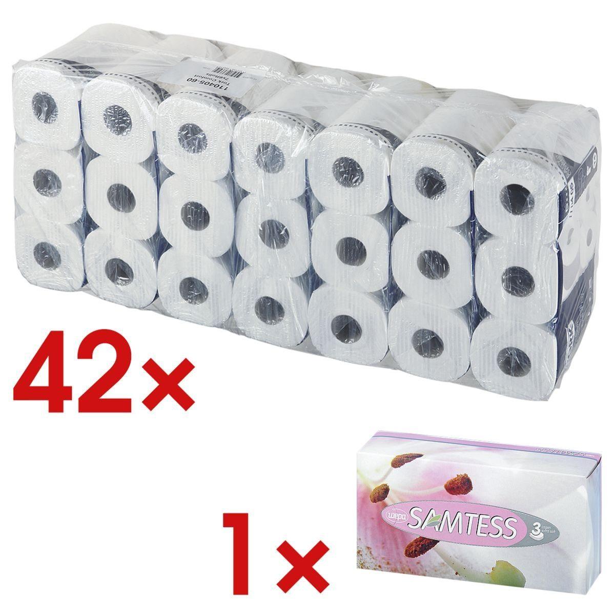 TORK Toilettenpapier 4-lagig - 42 Rollen inkl. Kosmetiktücher »Premium« 1 Set