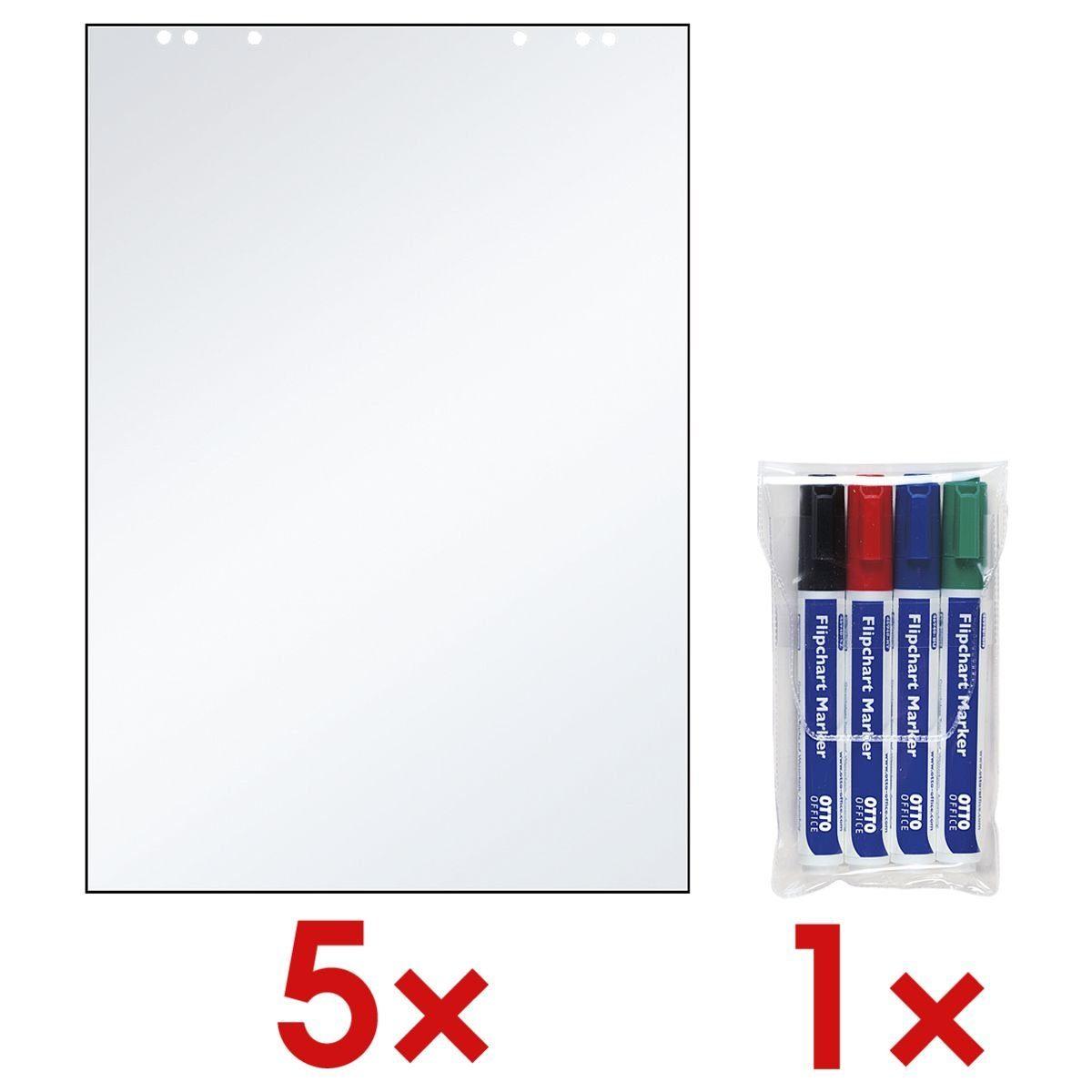 OTTOOFFICE STANDARD 5 Flipchartblöcke inkl. 4er-Pack Flipchart Marker 1 Set
