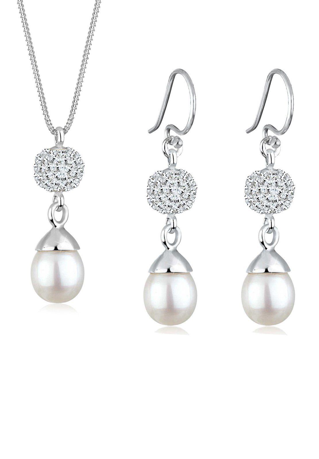 Perlu Set: Schmuckset »Perle Swarovski® Kristalle 925 Silber« 2 tlg.
