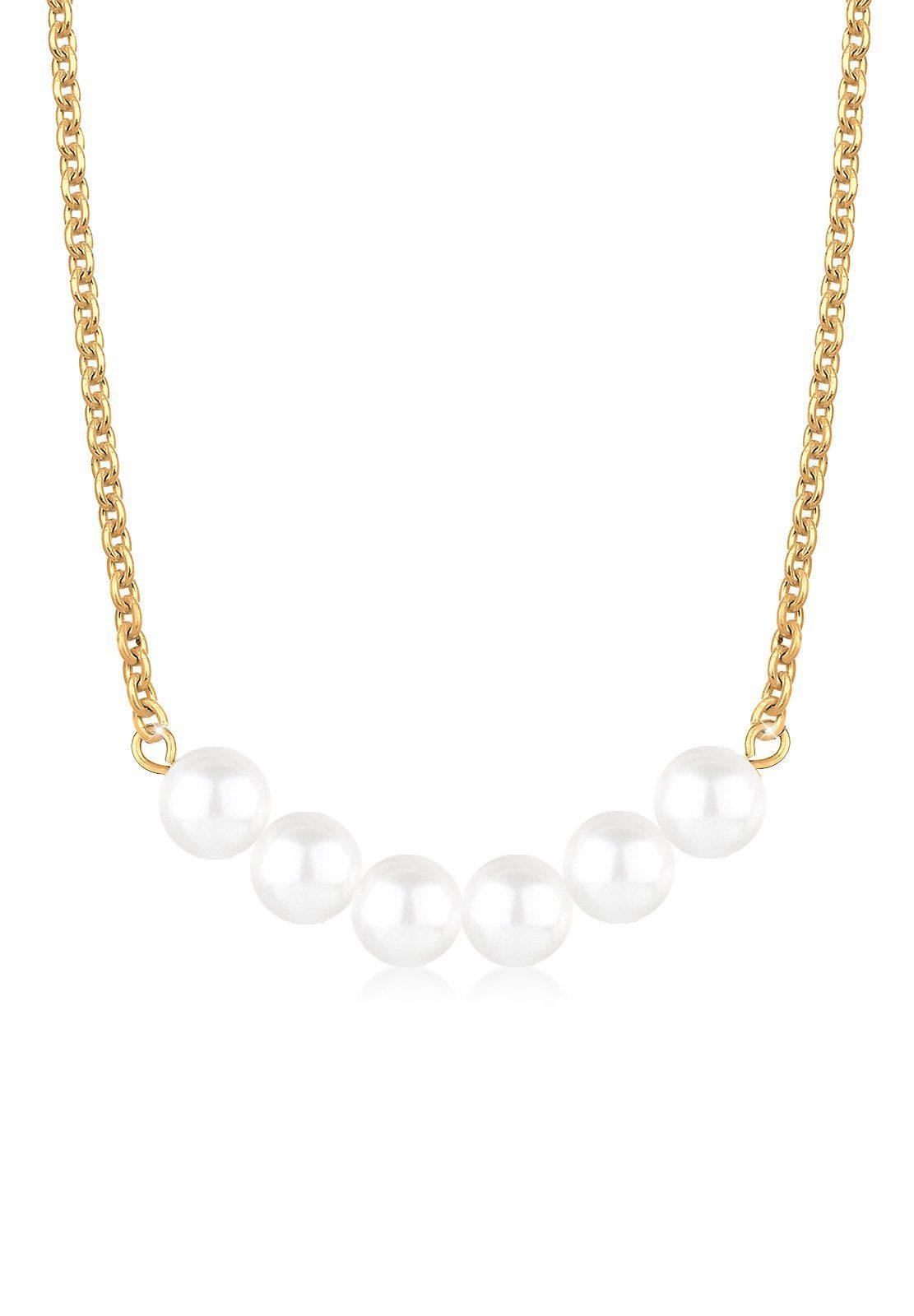 Elli Halskette »Perlenkette 925 Sterling Silber vergoldet«