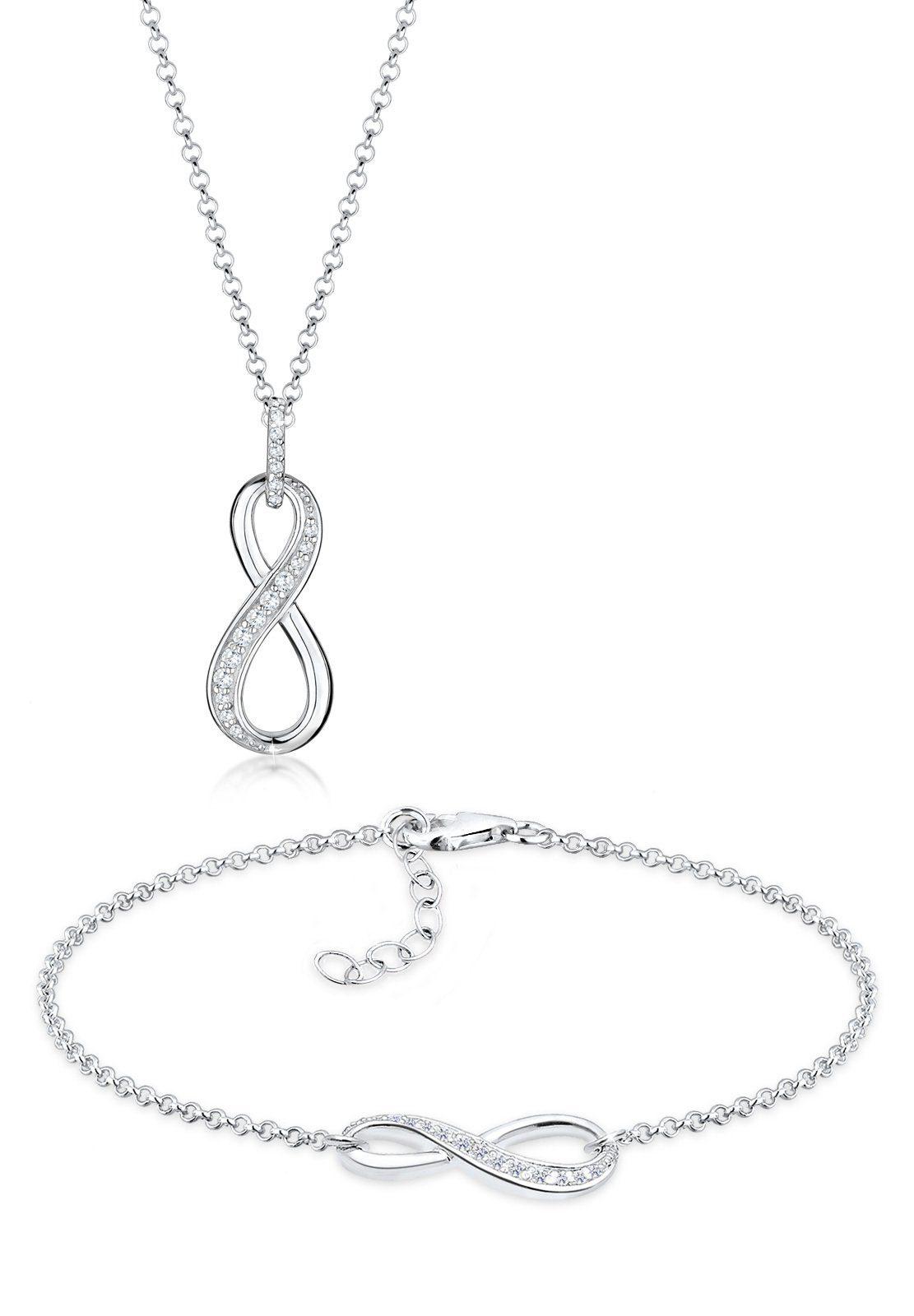 Elli Set: Schmuckset »Infinity Zirkonia 925 Sterling Silber« 2 tlg.