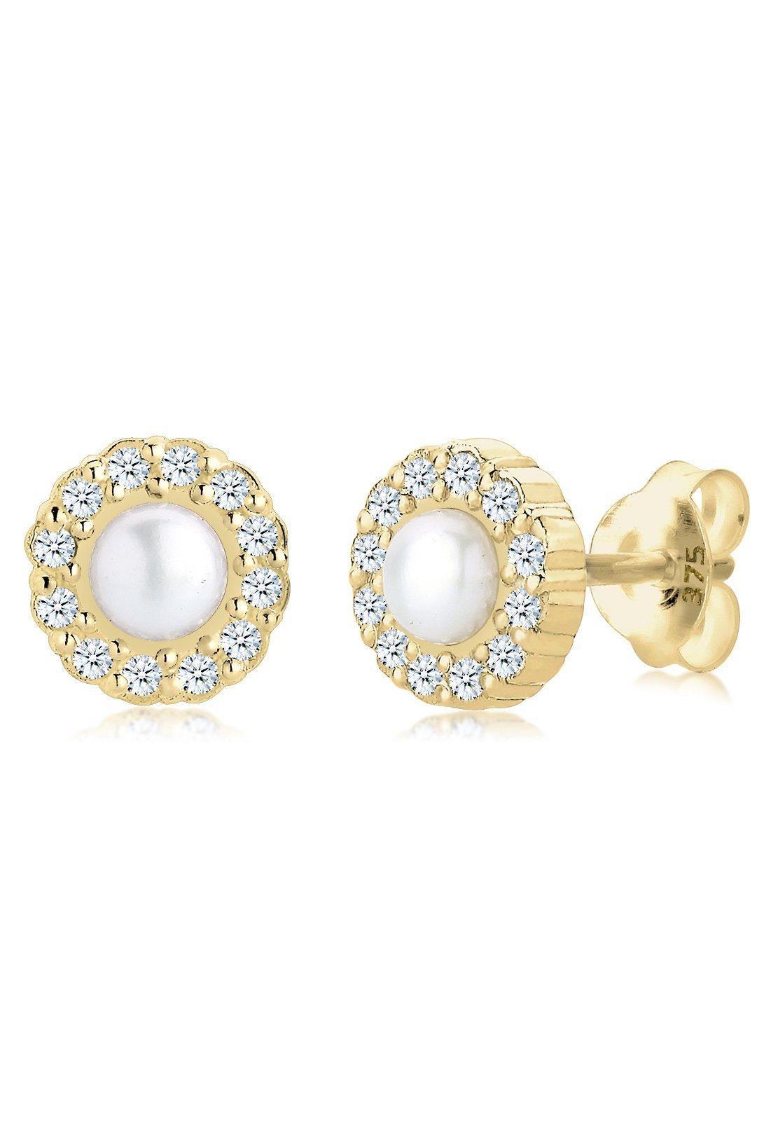 Elli Ohrringe »Diamant Süßwasserzuchtperle«