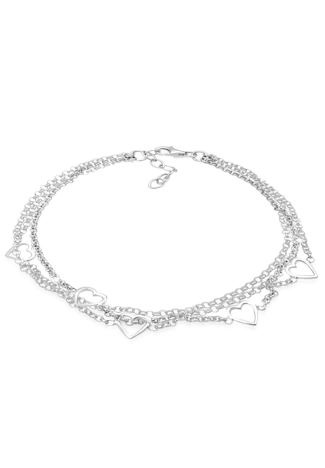 Elli Armband »3-Lagig Herzen 925 Sterling Silber«