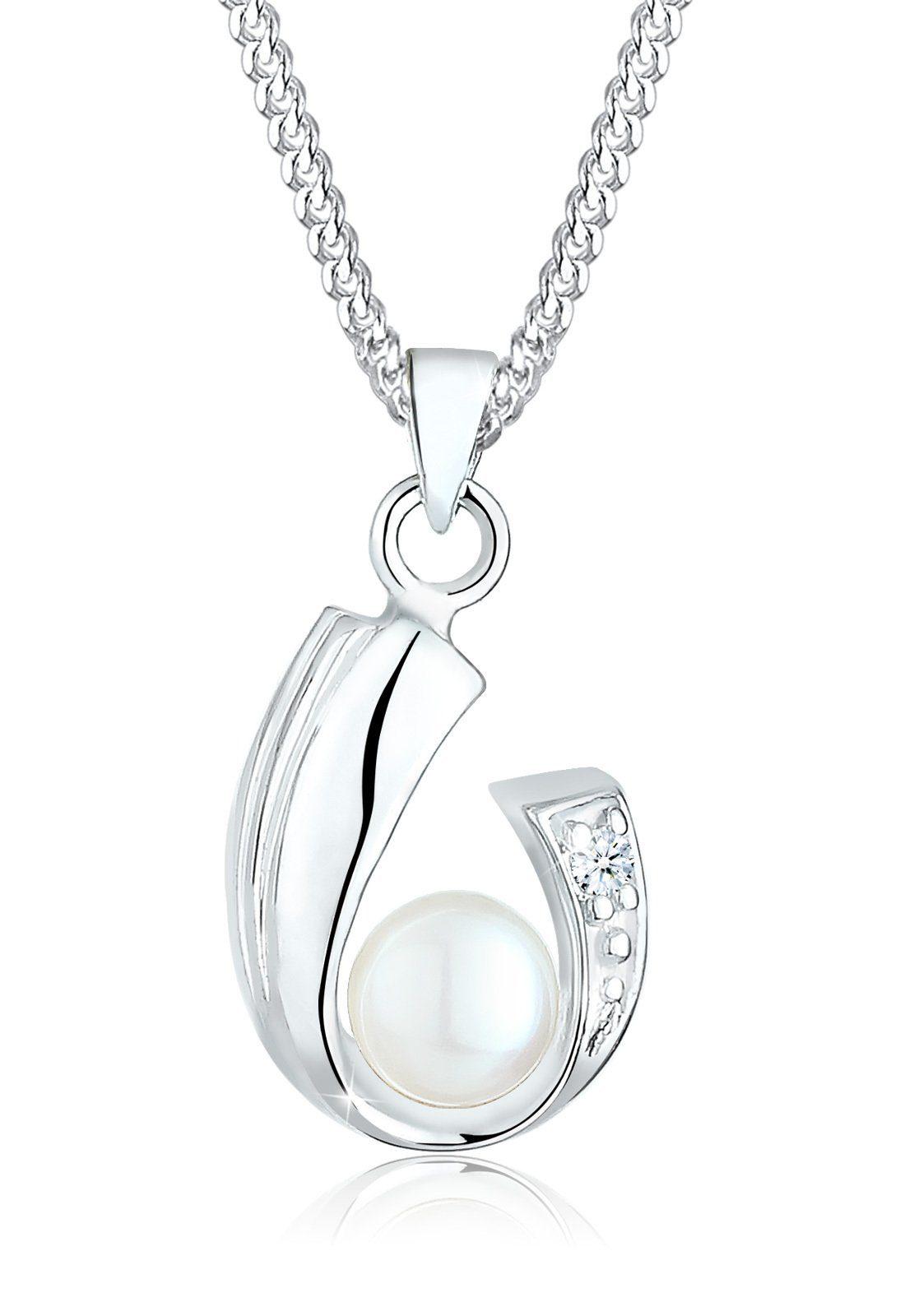 Diamore Halskette »Diamant Süßwasserzuchtperle 925 Sterling Silber«