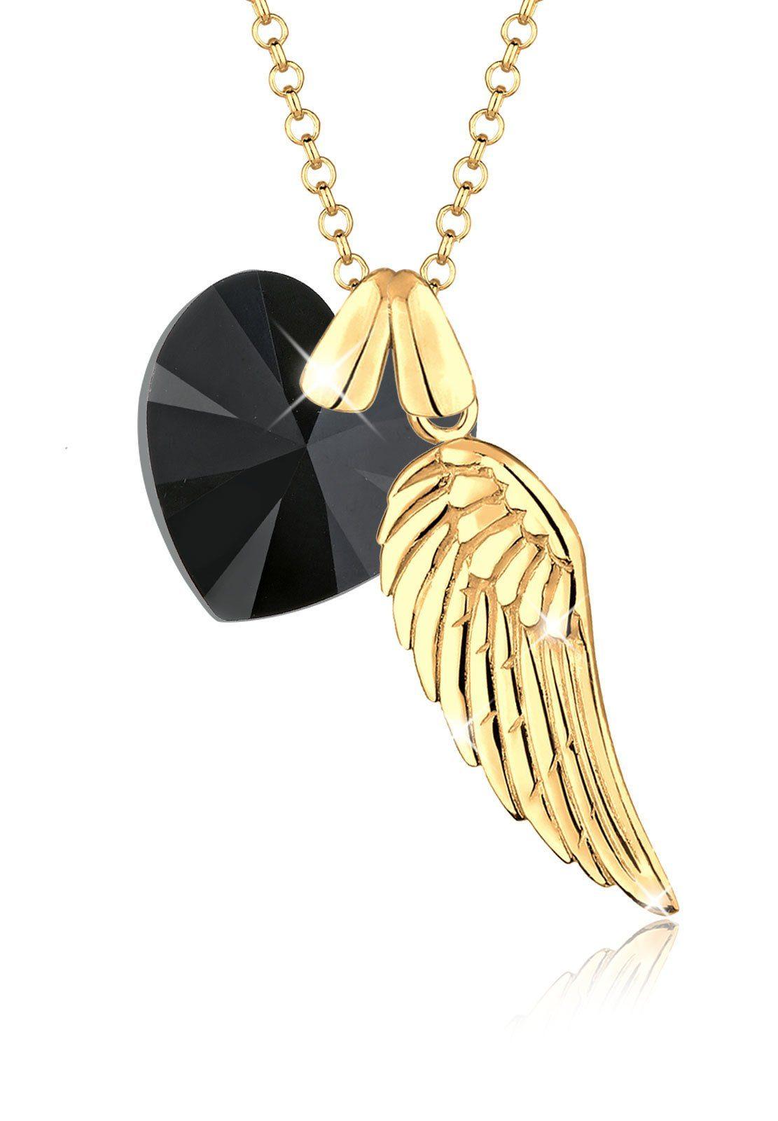 Goldhimmel Halskette »Herz Flügel Swarovski Kristall 925 Sterling Silber«