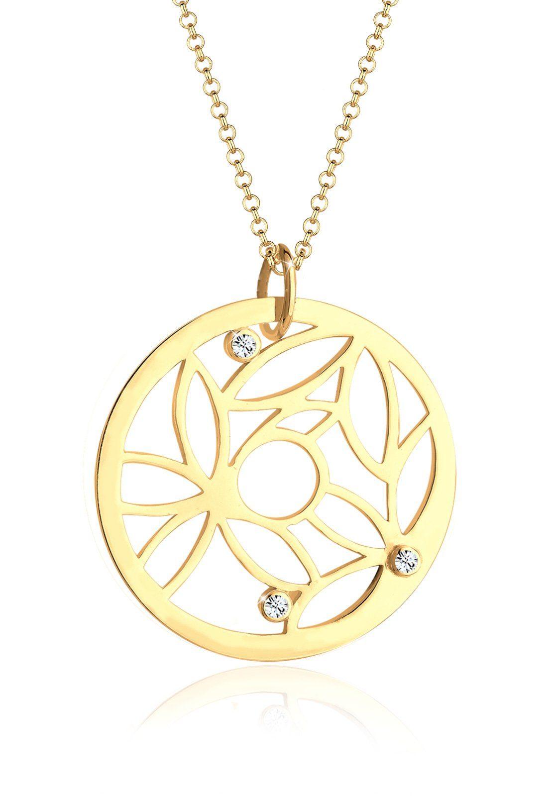 Elli Halskette »Münze Ornament Swarovski Kristalle 925 Silber«