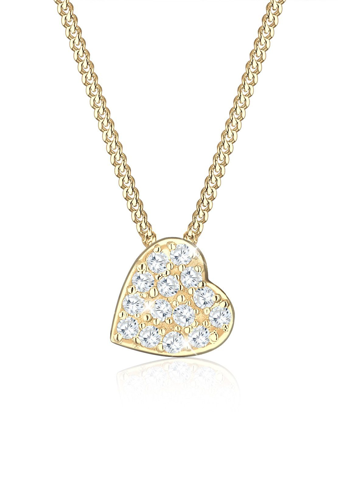 Elli Halskette »585 Gelbgold Zirkonia Herz«