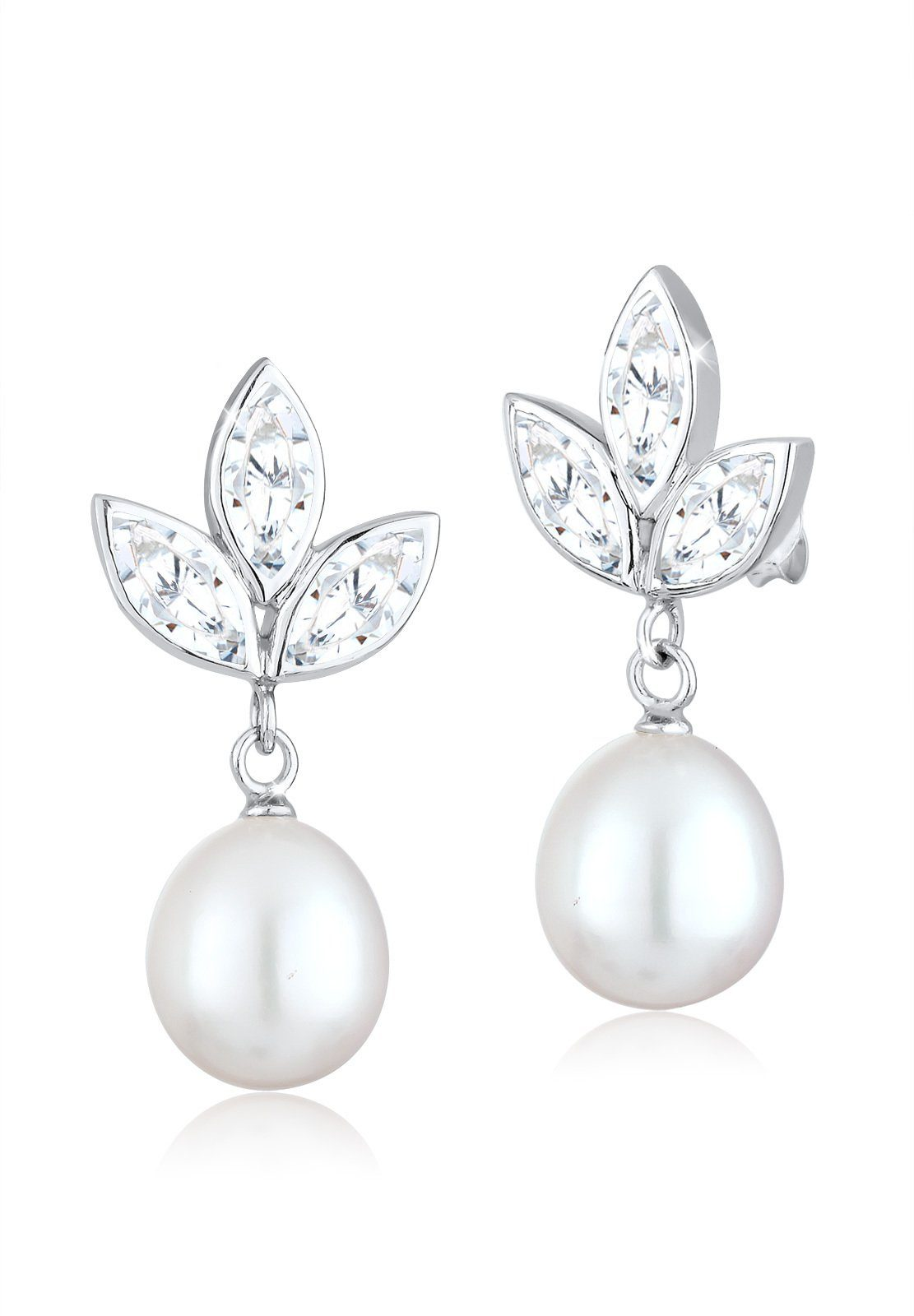 Perlu Ohrringe »Perle Blätter Zirkonia 925 Sterling Silber«