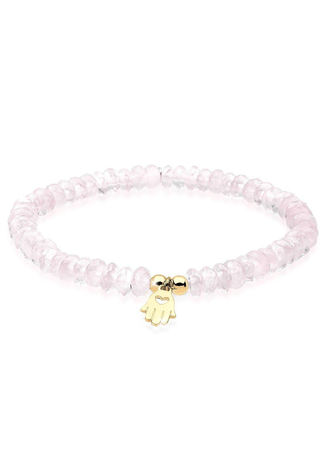 Elli Armband »Hand der Fatima Rosenquarz Silber vergoldet«