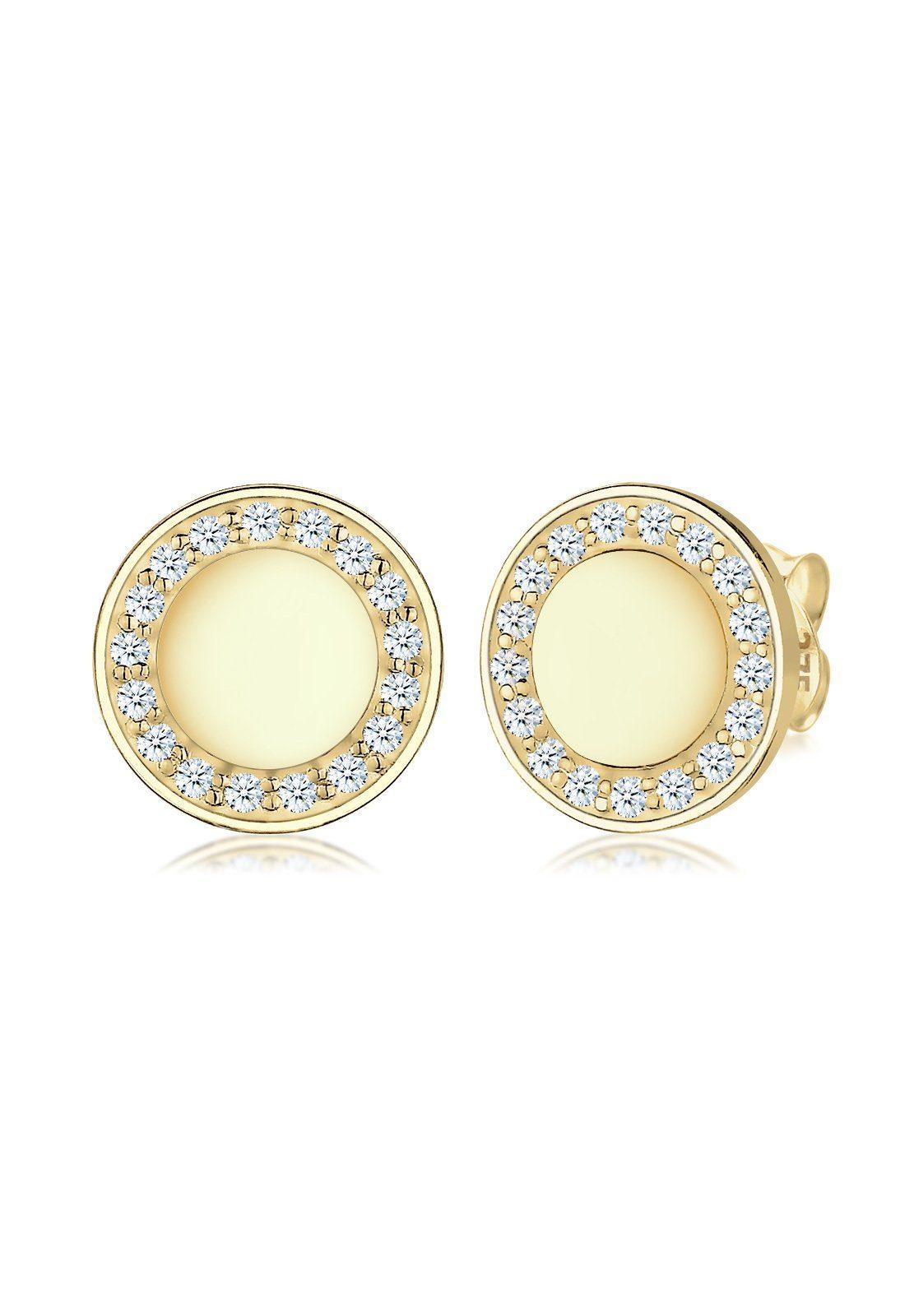 Elli Ohrringe »Kreis Elegant Klassisch Diamant 375 Gelbgold«