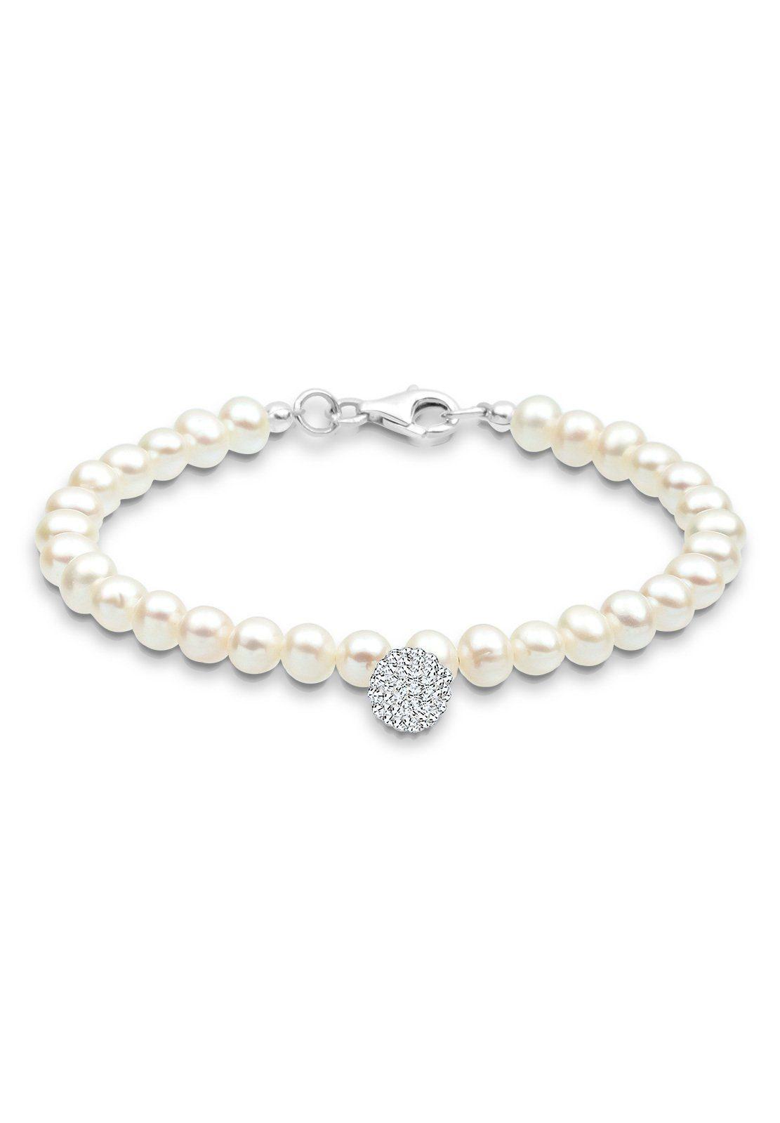 Perlu Armband »Perle Schneeflocke Swarovski® Kristalle 925 Silber«