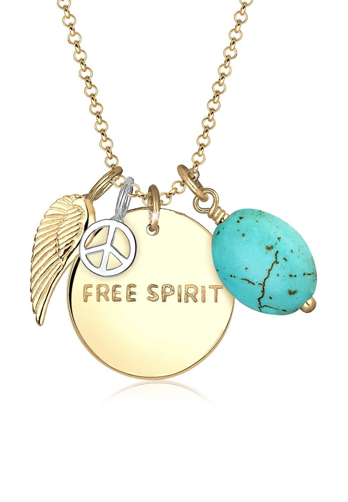 Elli Halskette »Free Spirit Flügel Peace Türkis Silber vergoldet«
