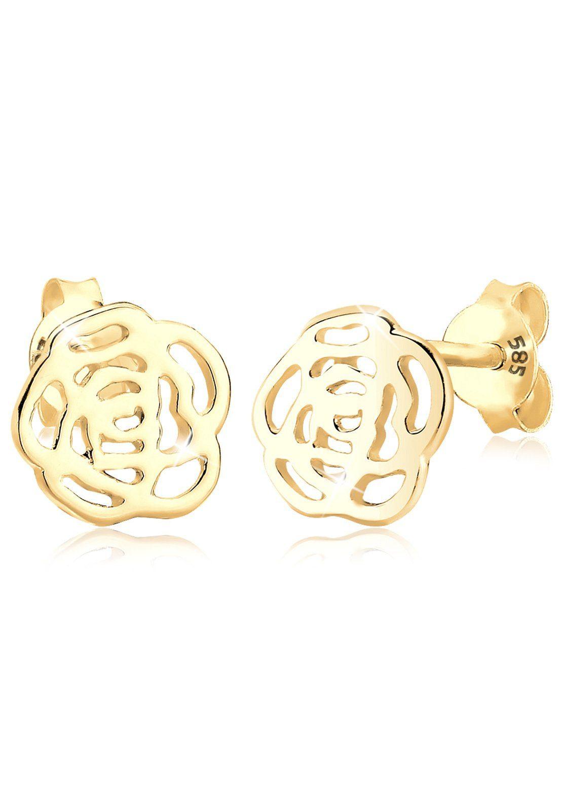 Elli Ohrringe »Blume 585 Gelbgold«