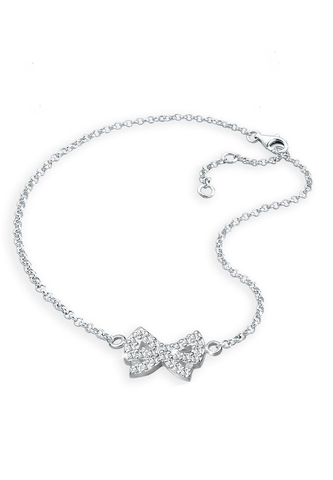 Elli Fußschmuck »Schleife Swarovski Kristalle 925 Sterling Silber«