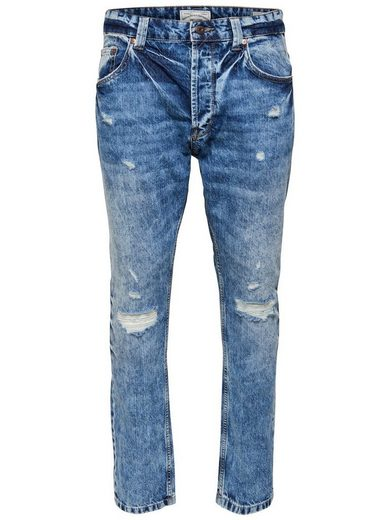 ONLY & SONS Carrot blue destroyed Slim Fit Jeans