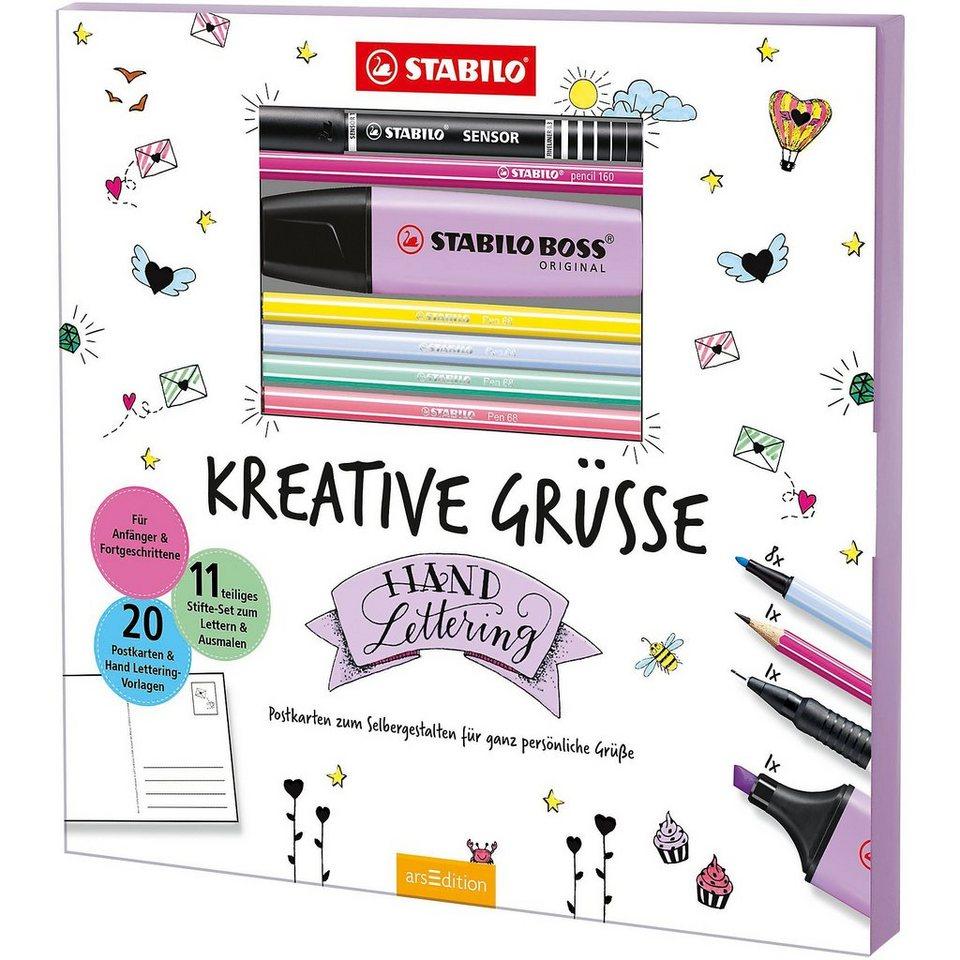 STABILO Malset Kreative Grüße Postkarten-Malbuch