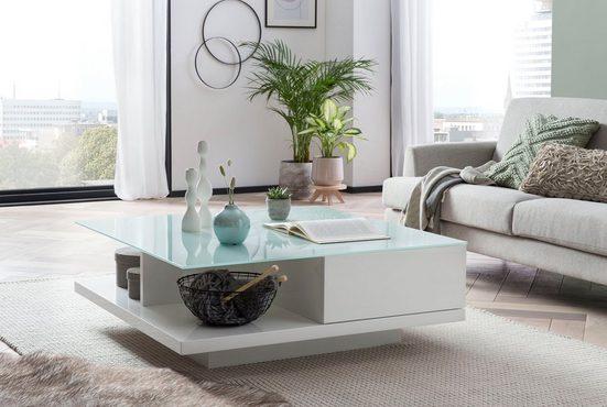 SalesFever Couchtisch, Tischplatte aus gehärtetem Kristallglas