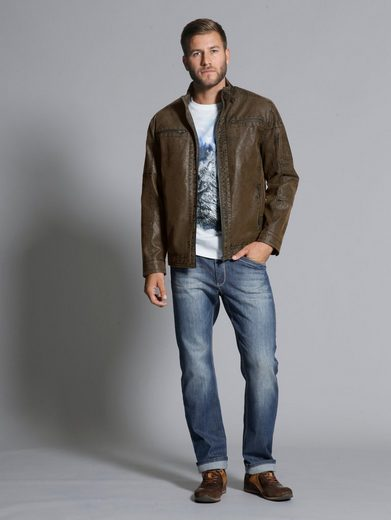 Men Plus by Happy Size Lederimitat-Jacke Used Effekt