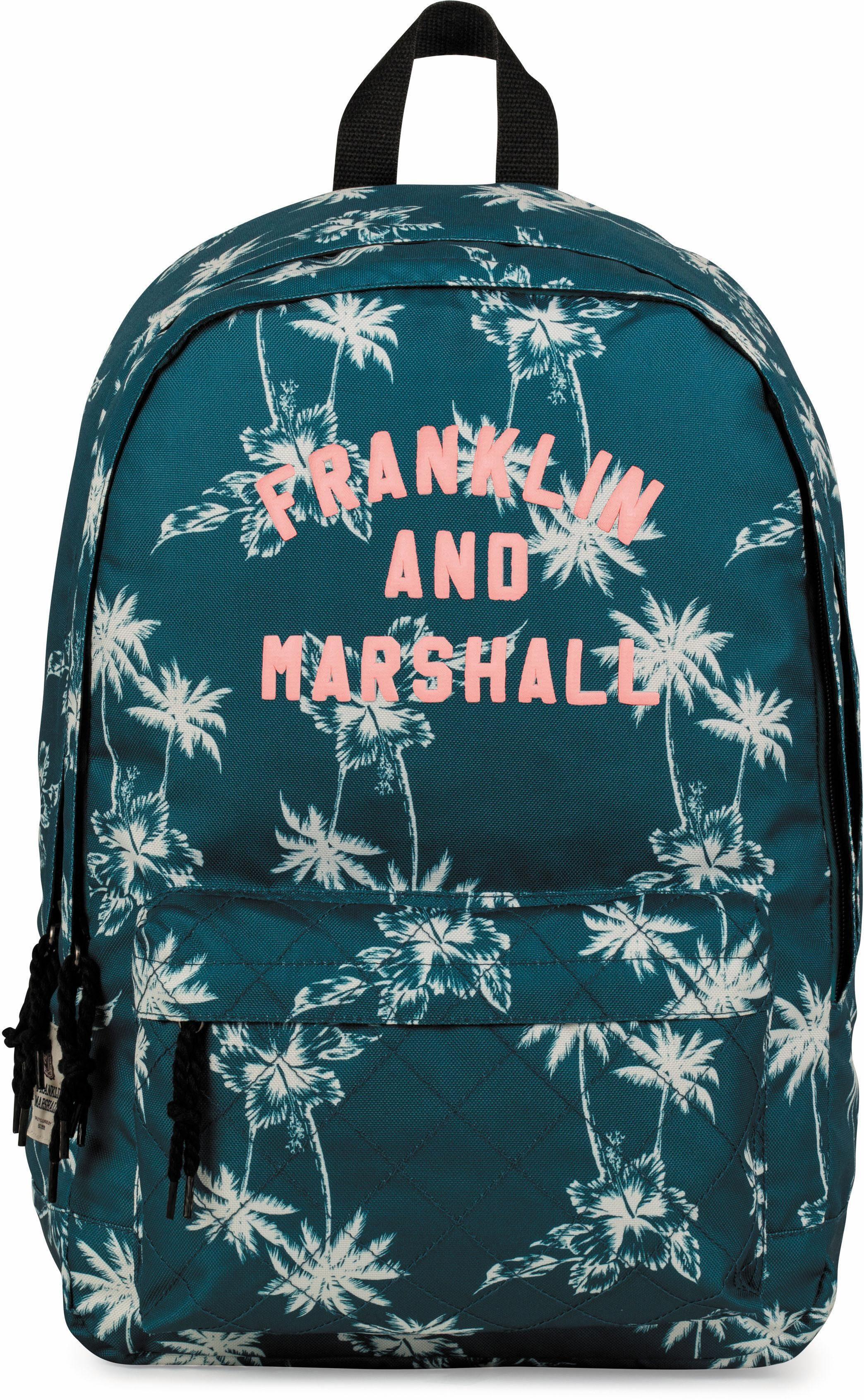 Franklin & Marshall Rucksack mit 2 Hauptfächern, »Girls, Palmen, petrol«