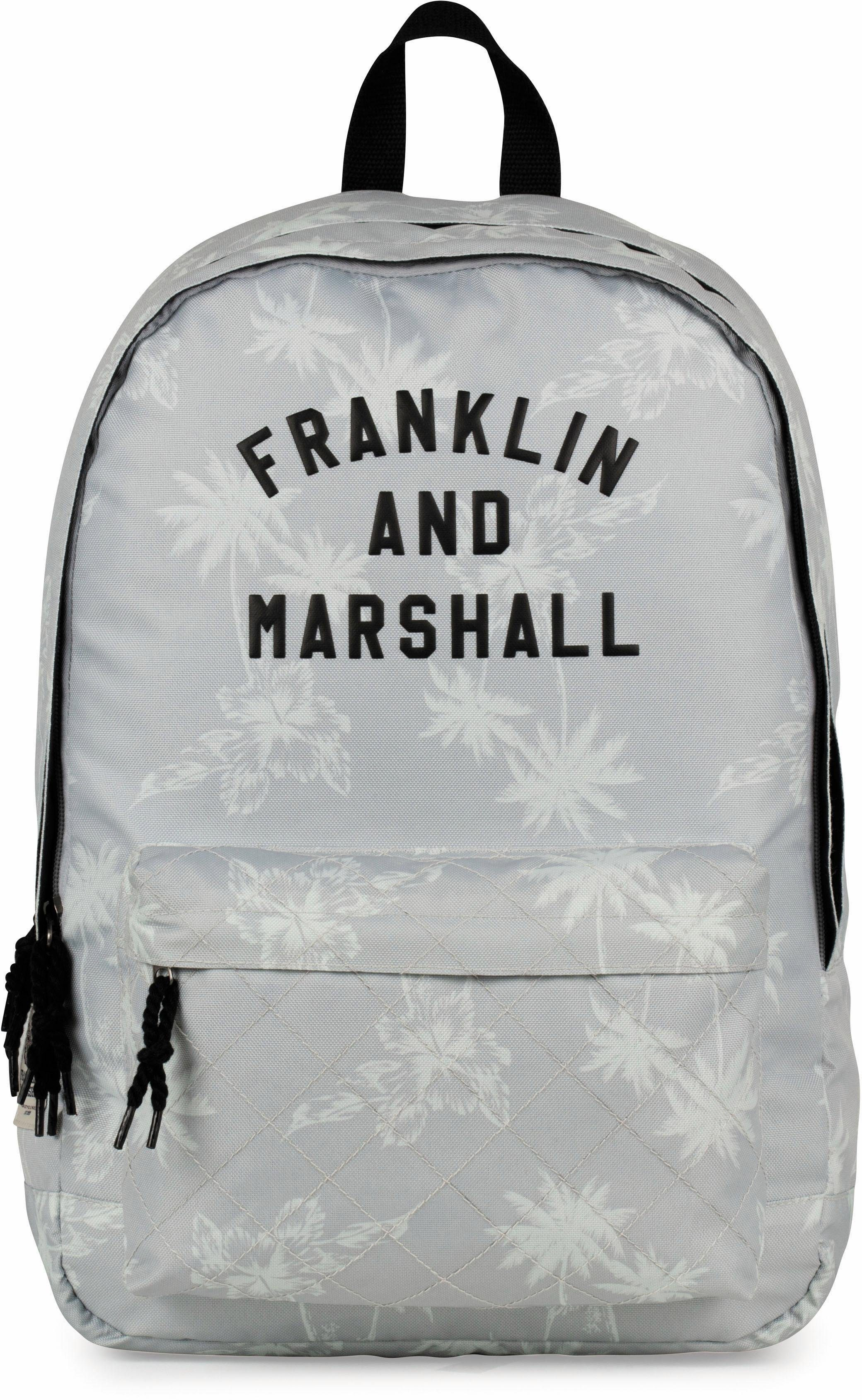 Franklin & Marshall Rucksack mit 2 Hauptfächern, »Girls Palmen, grau«