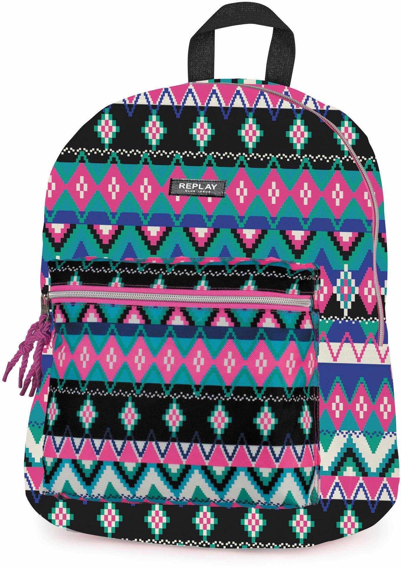 REPLAY Rucksack, »Fashion Girls, pink aztec«