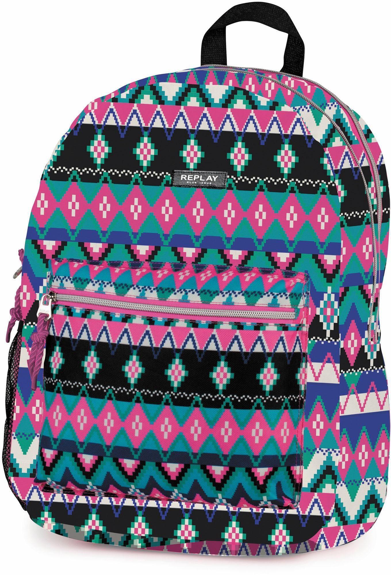REPLAY Rucksack mit 2 Hauptfächern, »Fashion Girls, pink aztec«