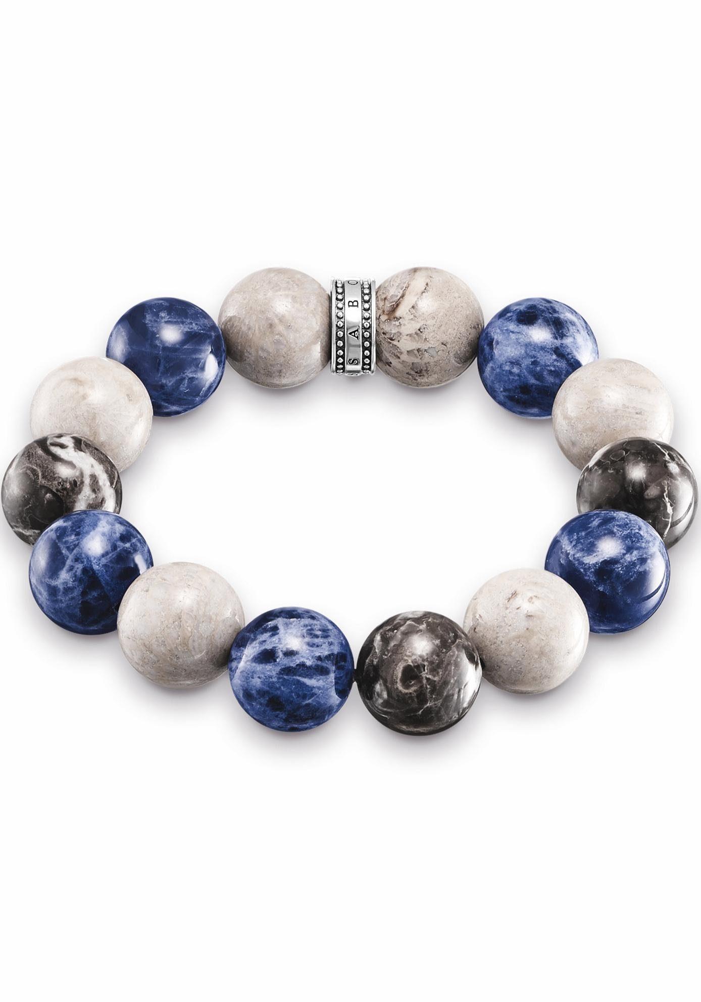 THOMAS SABO Armband »Power Bracelet Blau, Beige, Grau, A1580-362-7-L16« mit Jaspis, Marmor und Sodalith
