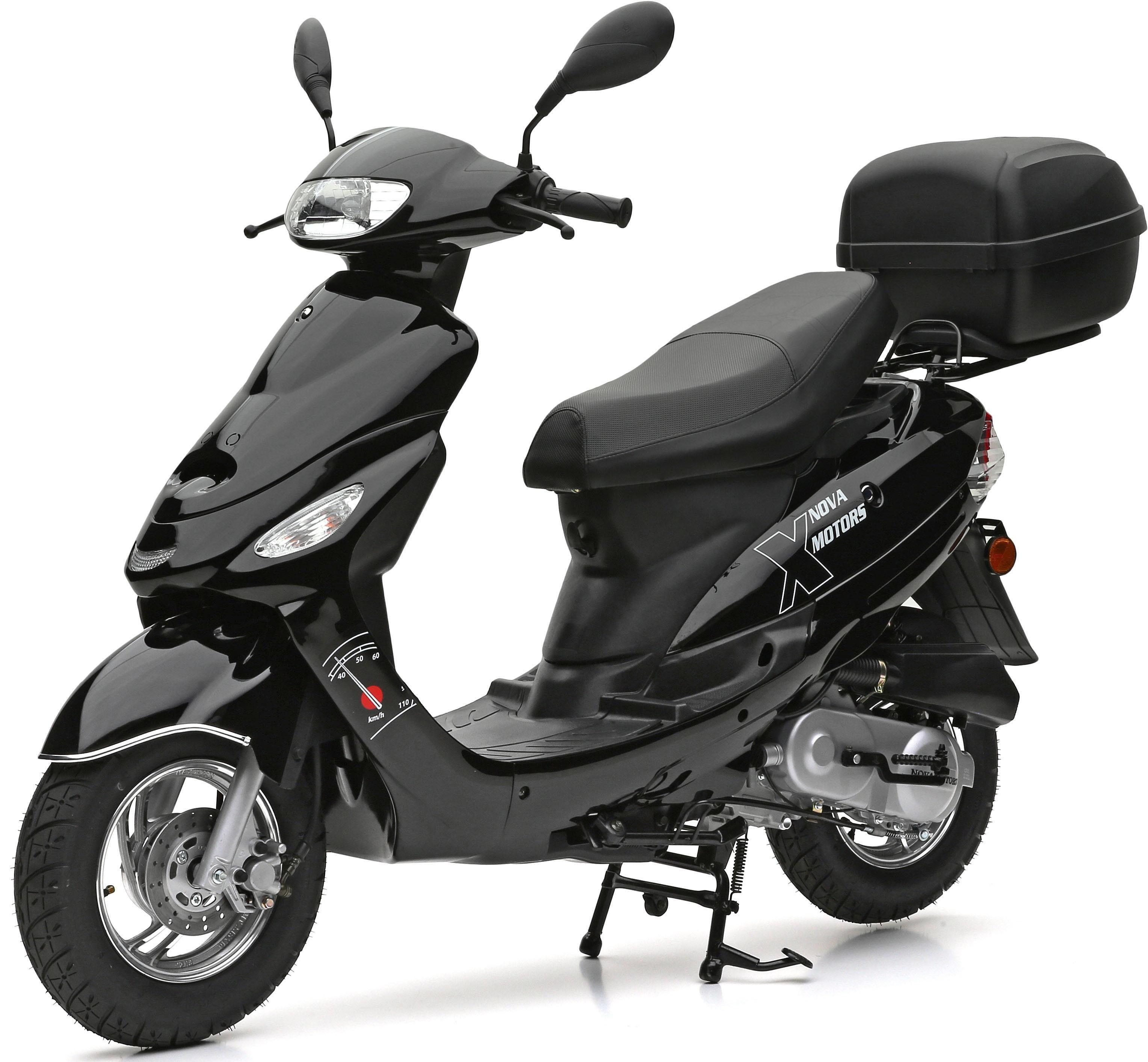 Nova Motors SET: Motorroller inkl. Topcase, Faltgarage, Kettenschloss, 49-ccm, 45 km/h, »City Star«