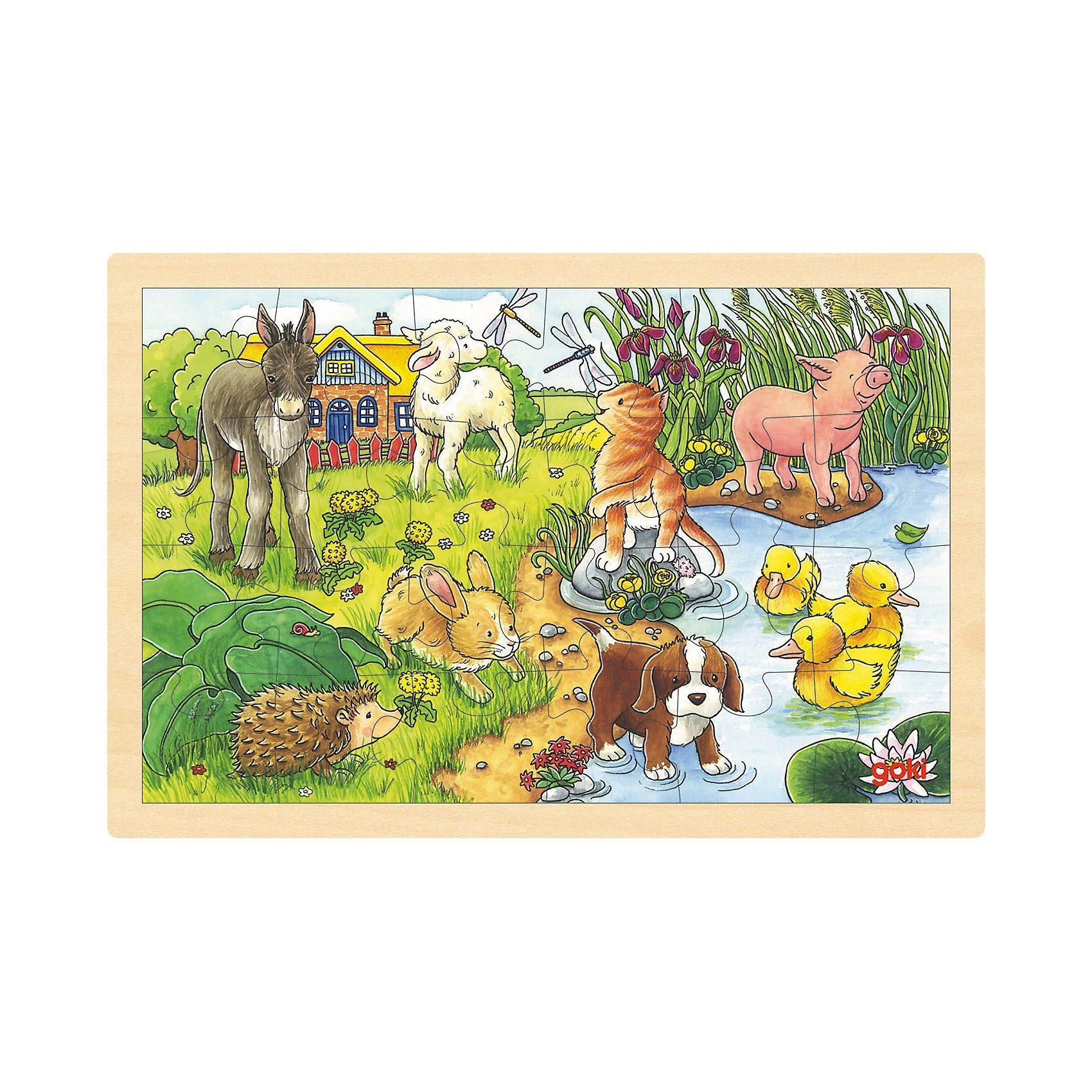 goki Holzpuzzle 24 Teile Tierkinder