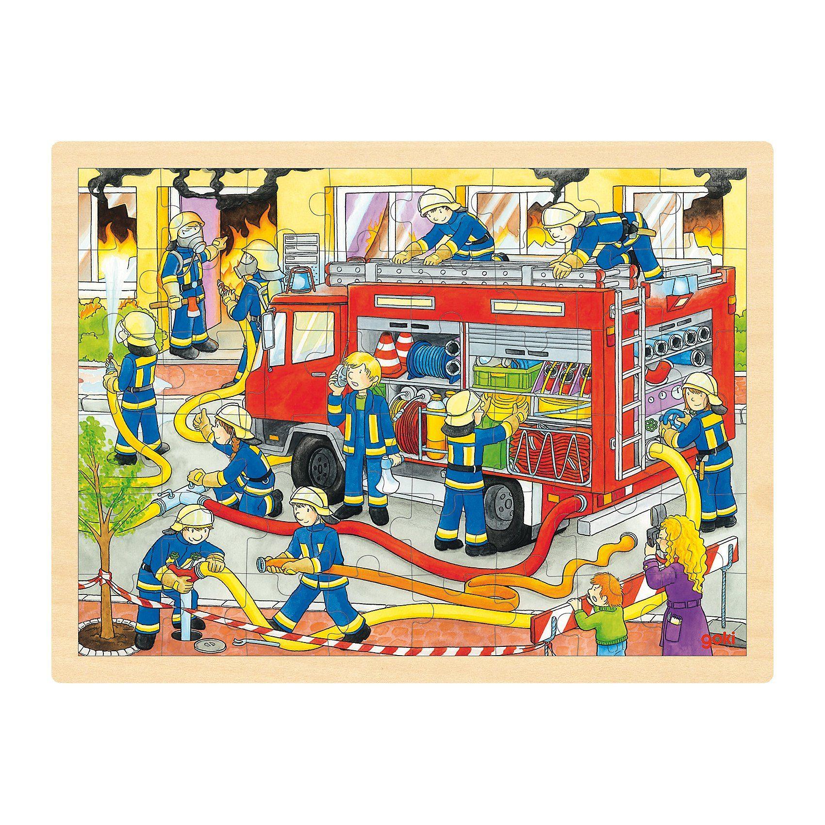 goki Holzpuzzle 48 Teile Feuerwehr
