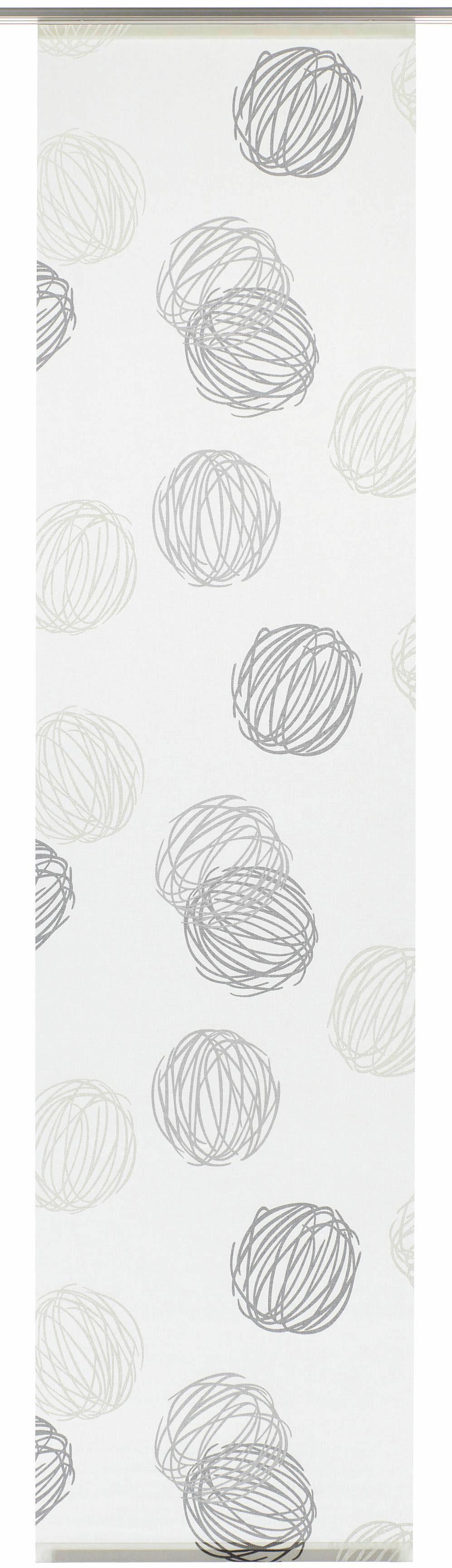 Schiebegardine, Gardinia, »Knäuel«, mit Klettband, mit silbernen Paneelwagen (1 Stück mit Zubehör)
