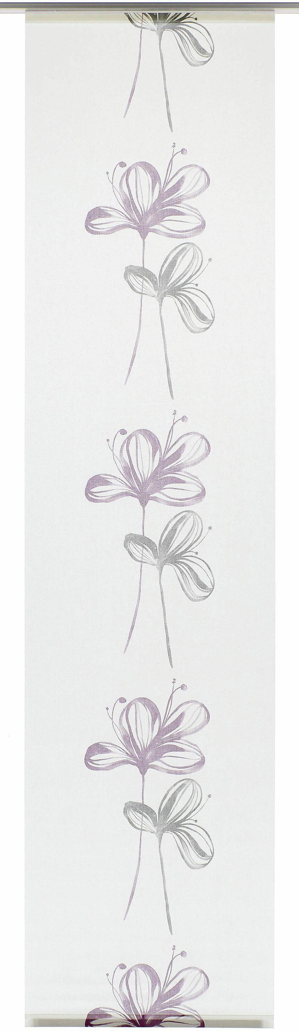 Schiebegardine, Gardinia, »Flower«, mit Klettband, mit silbernen Paneelwagen (1 Stück mit Zubehör)