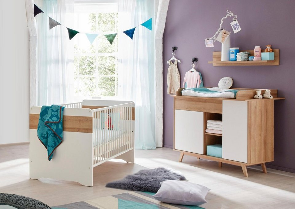 babyzimmer spar set berlin babybett wickelkommode 2 tlg in eiche nb wei online kaufen. Black Bedroom Furniture Sets. Home Design Ideas