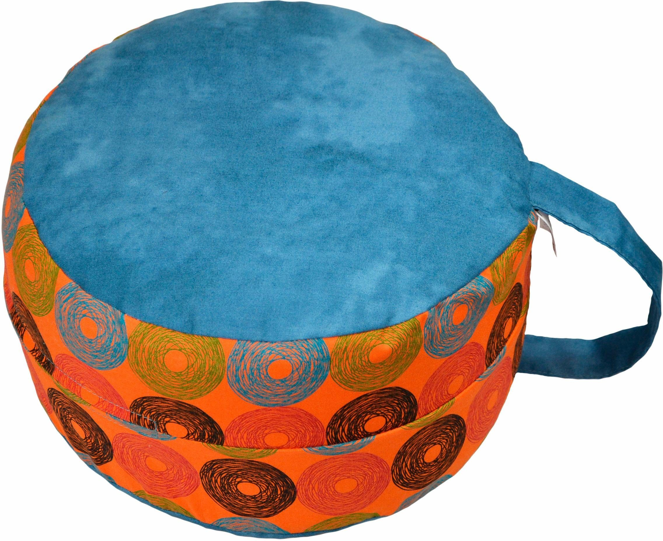 Mediations-/Yogakissen, »6520 blau/Retrokreise orange«, Herbalind