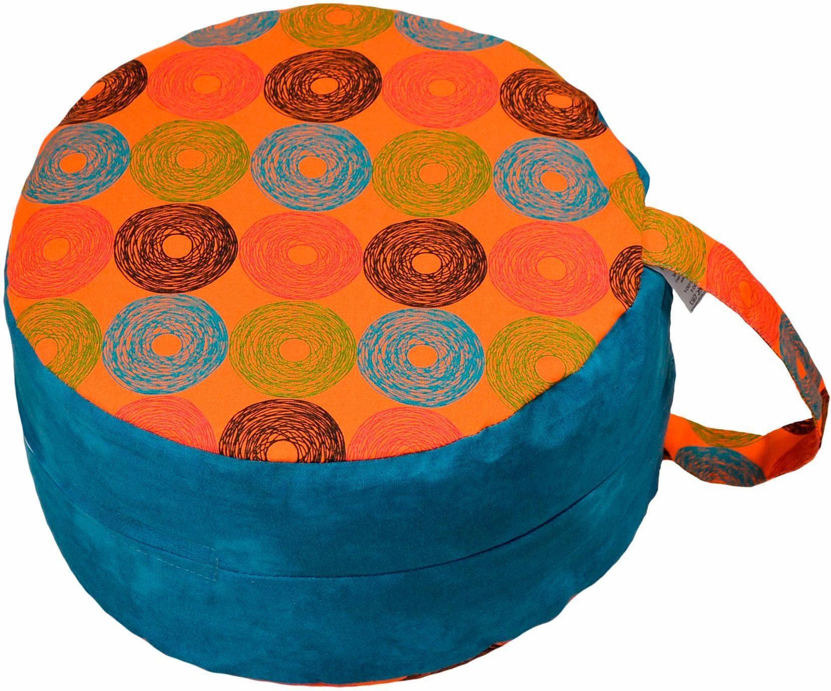 Mediations-/Yogakissen, »6521 orange/Retrokreise blau«, Herbalind