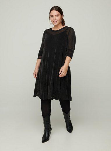 Zizzi Partykleid Große Größen Damen Kleid mit Rundhals, Schimmer und langen Ärmeln
