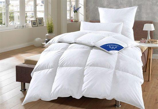 Daunenbettdecke + Kopfkissen, »Komfort 60% Daunen«, Excellent, warm, Material Füllung: Entendaune/-feder, (Set)