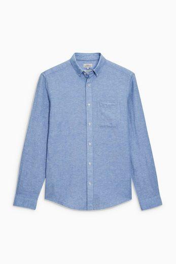 Next Langärmeliges Baumwoll-Leinenhemd